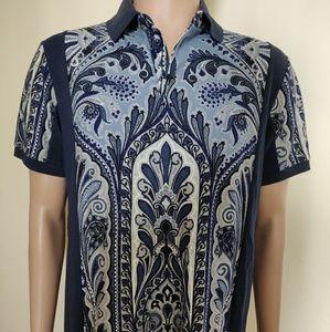Etro Men's 3 Button Blue And White Polo Shirt